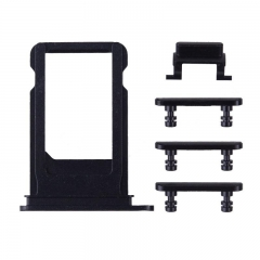For iPhone 7 Plus 5 in 1 Sim Card Tray With Side Buttons - Black