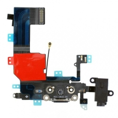 For iPhone 5C Dock Connector Charging Port And Headphone Jack Flex Cable - Black (821-1833-05)
