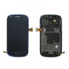 For Samsung Galaxy S3 Mini i8190 LCD Screen Display Assembly With Frame - Blue
