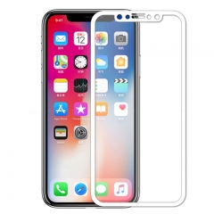 For iPhone X Tempered Glass Screen Protector 5D Full Cover - White