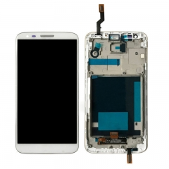 For LG G2 D802 LCD Screen Display Digitizer Assembly With Frame - White