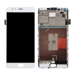 For OnePlus 3 3T LCD Screen Display Touch Digitizer Assembly With Frame - White