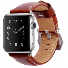 For Apple Watch 38mm 42mm Big Buckle Leather Watch Band
