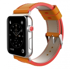 For Apple Watch 38mm 42mm Two-tone Color Leather Band