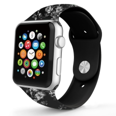 For Apple Watch 38mm 42mm Silicone Band Flowers Watch Band
