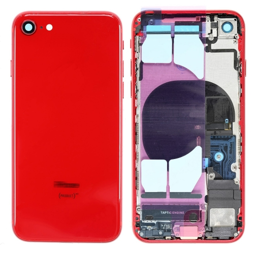 For iPhone 8 Back Housing Cover With Side Buttons & Card Tray Full Assembly - Red