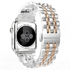 For Apple Watch 38Mmm 42mm Metal Stainless Steel 7 Points Watch Band
