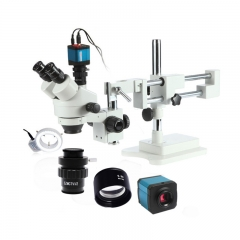 3.5X-45X Stereo Trinocular Microscope For Soldering Phone Repair Microscope Boom Stand 14MP HDMI Camera Adapter CTV
