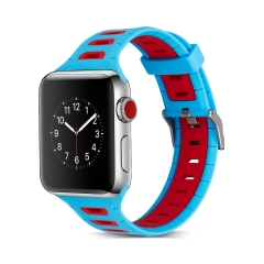For Apple Watch 38mm 42mm Two-tone Color Silicone Band T Style