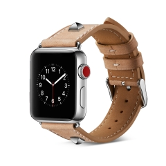 For Apple Watch 38mm 42mm Leather Watch Band Leather Strap Rivet Style