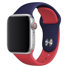 For Apple Watch 38mm 42mm Two-tone Color Silicone Band Contrast Color