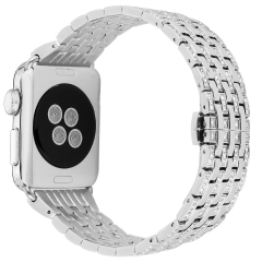 For Apple Watch Band Stylish Crystal Rhinestone Diamond Stainless Steel Bracelet Strap