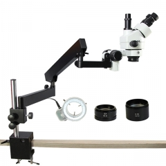 ARTICULATED ARM Zoom 3.5X-90X STEREO ZUMBIDO MICROSCOPE + Auxiliary Lens Microscope SZM0.5X and SZM2.0X