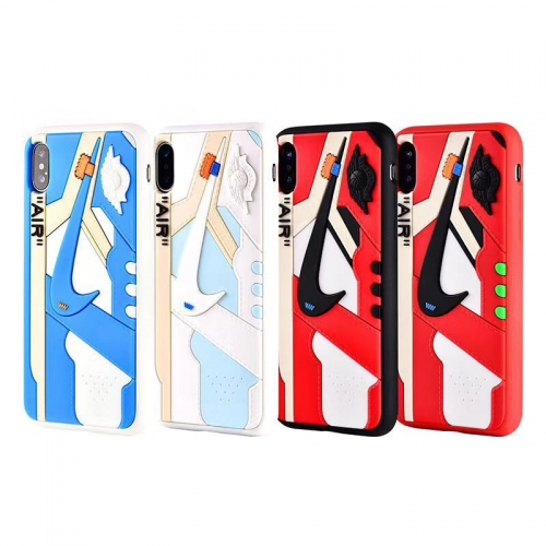 For iPhone Silicone 3D AIR Jordan AJ1 Sports Shoes Phone Cases Off White Cover