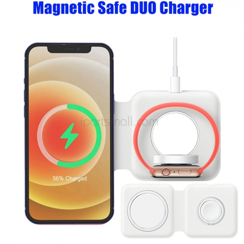 2in1 Wireless Magnetic Magsafe Duo Charger For iPhone 12 Pro Max Mini 15W Qi Fast Charger