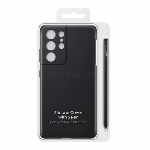 For Samsung Galaxy S21 Ultra Silicone Case with S-Pen Bundle - Black Original