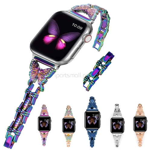 Woman Butterfly Straps For Apple Watch 6 SE Band Series 5 4 3 40mm 38mm 42mm 44mm Girls Dressy Bing Bands For iWatch Bracelet Jewelry Correa