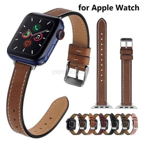 Brown Leather Band for Apple Watch Bracelet 38mm 40mm Suede Watch Strap Replacement for iWatch SE 42mm 44mm Women Slim Watchband