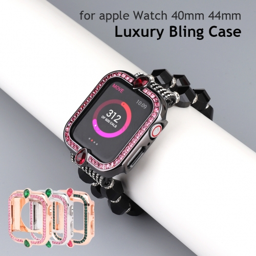 Woman Bling Metal Case For Apple Watch 44mm 40mm Luxury Dressy Protector Vintage Sparkling Jewelry Cover Frame Bezel for iWatch 6 5 4 SE Bracelet Stra