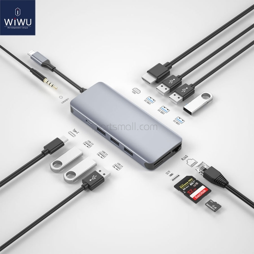 WiWU 12 in 1 USB Hub for MacBook VGA RJ45 Multi-function Type C Hub Adapter USB Splitter